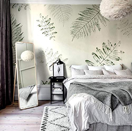3D Vliestapete Fototapete Nordic Style Wallpaper Hand-Painted Leaves Garden Small Fresh Green Plant Creative Bedroom Wall Covering Seamless Non-Woven Murals, 300 * 210