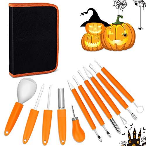 Sooair Halloween Kürbis Schnitzset, 11-Teiliges Set Schnitzwerkzeug für Holz Schnitzwerkzeug Halloween Schnitzset Halloween Kürbis Schnitzset