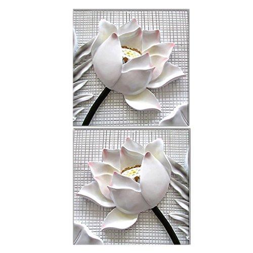 Sharplace 2 Piezas 40x40cm Cuadro Pintura Rosa Blanca