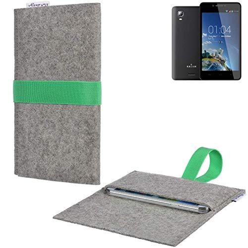 Handyhülle AVEIRO mit Filz-Deckel und Gummiband-Verschluss für Kazam Trooper 2 6.0 - Sleeve Case Etui Filz Made in Germany hellgrau grün - passgenaue Smartphone Tasche für Kazam Trooper 2 6.0