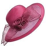 Damenhut von Lawliet, für Kirche, Hochzeit, Kentucky Derby, breite Krempe, Sonnenhut, formeller, königlicher Ascot-Hut Gr. Einheitsgröße, burgunderfarben