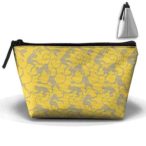 Trapezoidal Toiletry Pouch Makeup Travel Cosmetic Bag Monkey Yellow Painting Portable Phone Coin Storage Plum-zebra