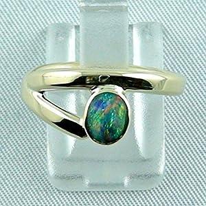 Eleganter Goldring 14 k mit Top GEM Black Crystal Opal - Verlobungsring