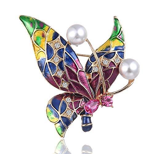 Fliyeong Dauerhafte Broschen Pins Elegant Strass Schöne Emaille Schmetterling Perle Brosche für Hochzeit Prom
