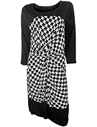 Next Plus Size Black & White Stretchy Shift Dress with 3/4 Length Sleeves