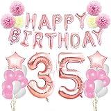 KUNGYO Zum 35. Geburtstag Dekorationen Kit-Rose Gold Happy Birthday Banner-Riesen Zahl 35 und Sterne Helium Folienballons, Bänder, Papier Pom Blumen, Latex Ballons, Elegante Party Supplies für Frauen