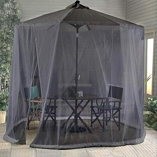 QQA Outdoor Garden Outdoor Garden Tisch Regenschirm Sonnenschirm Moskitonetz Abdeckung Käfernetz Pavillon Baldachin, Reißverschlussöffnung und Wasserschlauch an der Basis, Schwarz, 335x220cm