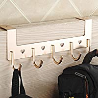 Fittoway Aluminum 5-Hook Over The Door Wall Hook Heart Hollow Coat Hook Rack for Bathroom Bedroom
