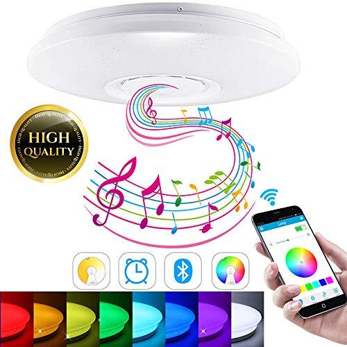 SmartHitech LED Smart Music Deckenleuchte mit Bluetooth Lautsprecher, 60W RGB Farbwechsel Moderne Leuchten mit Fernbedienung/APP Controller