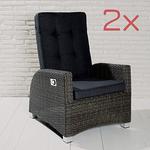2er Set Barcelona Living Gartensessel XL Sessel für den Garten oder Terrasse – Gartenmöbel Rocking Chair Terrassensessel Poly Rattan grau mit verstellbarer Rückenlehne und Kissenauflagen