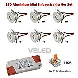 VBLED LED Aluminium Mini Einbaustrahler IP44 wassergeschützt - 1W 350mA 80lm warmweiß (3000 K) (6er-Set) mit dimmbaren Netzteil (ohne Funk)