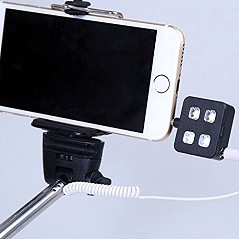 Evtech (tm) (Negro) Mini clip portable Teléfono Móvil selfie luz de flash 4 LEDS flash de relleno ligero para iPhone, Samsung, HTC, MI, LG, etc.