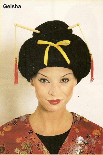 Geisha Perücke für Damen mit Stäbchen schwarz