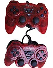 TECHCOM - Dual Vibration USB Wired Controller Gamepad/Joystick with LED Indicators for PC Laptop & with CD Driver, Set of 2