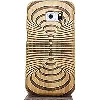 Vandot X 1 Set Unico Reale Handmade Legno Naturale di legno Creativo Caso Intagliato Difficile Amboo Antiurto Coperchio per SAMSUNG Galaxy S6 Edge - Cappio