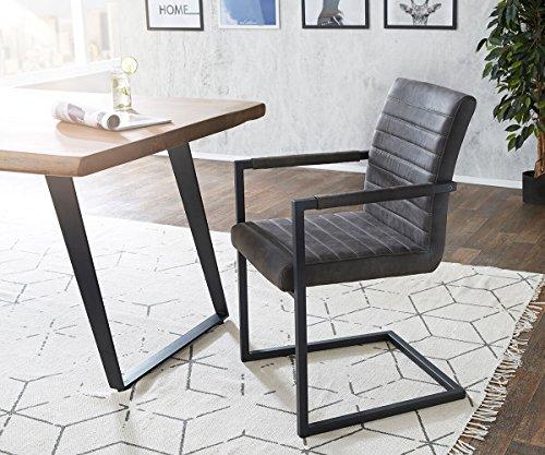 Küchenstuhl Earnest Vintage Freischwinger Design Stuhl (Anthrazit, Gestell Metall Schwarz)