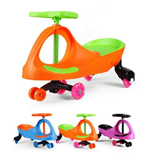 Fascol Bobbycar lenkrad Kinder Car Auto Antrieb durch Lenkbewegung für Kinder von 3 bis 8 Jahre mit leuchtende Flüsterrädern,Orange