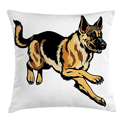 Jolly2T German Shepherd Throw Pillow Cushion Cover, European Pure Breed Pet Dog Cartoon Style Animal Illustration, Decorative Square Accent Pillow Case, 18 X 18 inches, Pale Brown Black Taupe