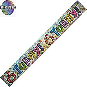 Bright Happy 6th Birthday Party Wall Banner 3 Banners 6 Today Party Decoration by The fancy dress and party store