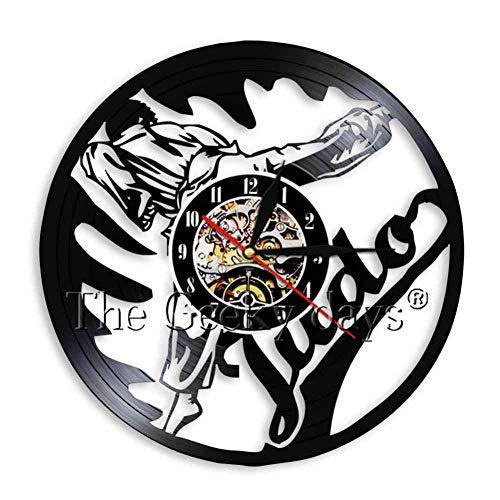 Disco de Pared de Vinilo Judo Martial Judo Gym Sign Wall Arts Decor Jiu-Jitsu Disco de Vinilo Reloj de Pared Relojes de épocaMartial Judoka Regalo 12 Pulgadas