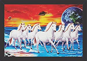 Mad Masters Canvas Seven Running Horses Vastu Painting (UV Textured Print, 19 x 13 inch) Wall Painting With Frames Pictures For Living Room Frame Horse Scenery Art Framed Vastu Running Fancy Home Decor Showpieces Sceneries Hangings Photo Decors All Furniture Lucky Artwork Under Gifts