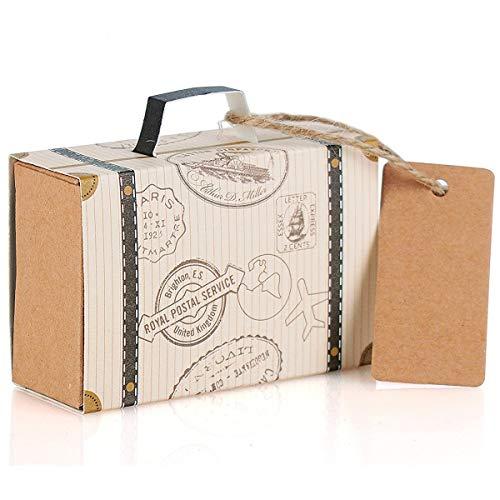 50 Stück Koffer Hochzeit Favor Box, Ouinne Mini Hochzeits Bevorzugungs Süßigkeit Kasten mit Kraft Karte und Jute für Geburtstag Party Baby Dusche Hochzeit Décor