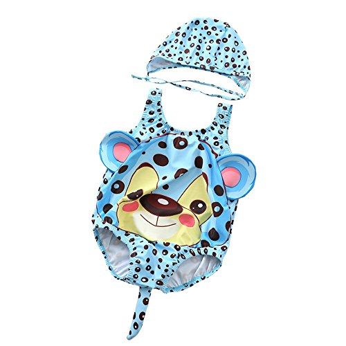 Kinder Mädchen Badeanzug Baby-Jungen-Mädchen-nette kleine Blumen-Leopard-Muster-einteiliger Badeanzug-Schwimmen-Hut-Karton-Badebekleidungs-Badeanzug Cosply-Kostüm Strandbadeanzug für Kleinkinder (Kleiner Junge Bau Kostüm)