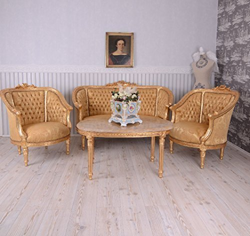 PALAZZO INT Sitzgruppe Barock Sitzgarnitur Salon Möbel Sofa Sessel Couchtisch Antik