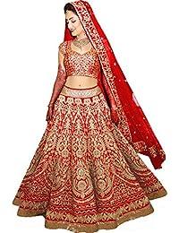 MEGHALYA Women's Velvet & Net Dress Material (Arya_S308_Red_New__Free Size)