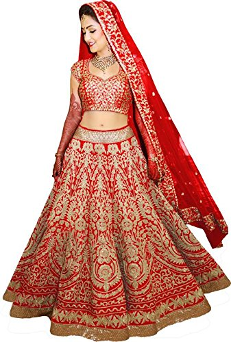 MEGHALYA Red Color Fancy & Beautiful Embroidered Raw Silk & Dori Work...