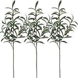 Olivenzweige, 71,1 cm, künstliche Pflanze, schwarze/grüne Oliven, UV-beständig, Sträucher für Zuhause, Büro, Garten, Hochzeit, Deko für innen und außen, Bastelkranz, 3 Stück
