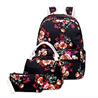 LAUSONS Kids Backpack and Lunchbox Sets 3 Pieces/Set Student Rucksack School Bags with Floral and Cherry Pattern