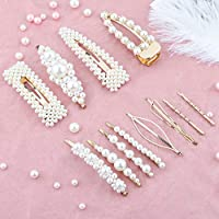 Makone Pearl Hair Clip -12 PCS Pearl Hair Clip Hairpins Hair Barrette Wedding Bridesmaid Hair Clips Accessories for Women