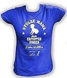 Artdiktat Damen T-Shirt Stolze Mama eines Erfurter Jungen Größe XXL, blau