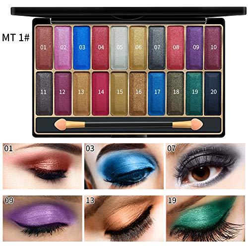 Rowentauk 20 Colors Glitter matt Lidschatten-Palette Wasserdicht Wischfest Schimmer Lidschatten Kosmetik-Palette Professional Make Up