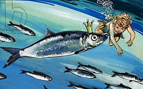 "Poster-Bild 100 x 60 cm: ""Boy swimming with a fish, illustration from The Water Babies by Charles Kingsley (gouache on paper)"", Bild auf Poster"