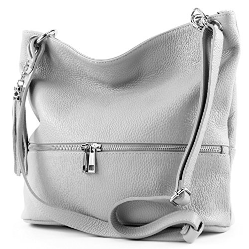modamoda de - ital. Ledertasche Damentasche Umhängetasche Tasche Schultertasche Leder T143 Braun