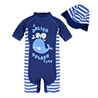 BIG ELEPHANT Kids Baby Boys Anti UV All-in-One Sun Protection Swimming Suit Clothes with Hat Q67