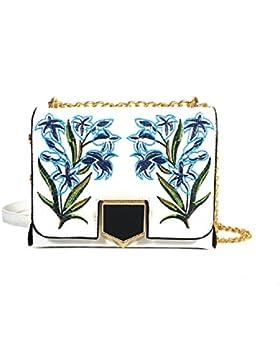 GZHOUSE Stilvolle PU-lederne Blume gestickte Querkörper-Schulter-Kurier-Beutel-Handtasche