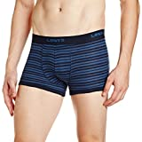 Levi's Bodywear Men's Striped Cotton Trunks (100CA_ Striped_Trunk_Navy Blazer and Ensign Blue_M)