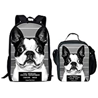 HUGS IDEA Pet DOD Print Children School Backpack with Lunch Bag Set