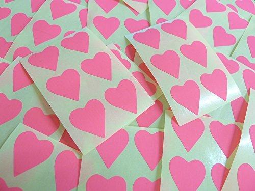 22x20mm Magenta Claro Rosado Fluorescente Con Forma De Corazón Etiquetas, 90 auta-Adhesivo Código De Color Adhesivos, adhesivo Corazones para Manualidades y Decoración