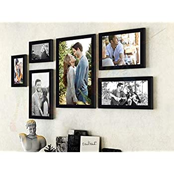 Art street - Triumphet set of 6 individual photo frames/ Wall hanging (Mix size -10x12, 6x10, 6x8, 4x6, Black)