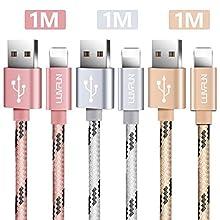 Luvfun 3-Pack Câble pour iPhone, 1m Nylon Tressé Câble Chargeur iPhone avec Aluminium Connecteur Résistant (Or Rose+Argent+Or)…