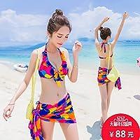 ZHANGYONG*Les particules d'acier et de petit modèle de maillot poitrine bikini à la mode maillot de bain 3 pièces, Blanc, L,