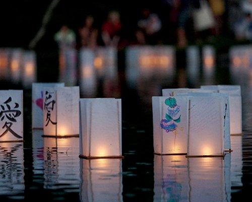 Schwimmende Licht Tüten Laternen 2er Set mit Holz Boden