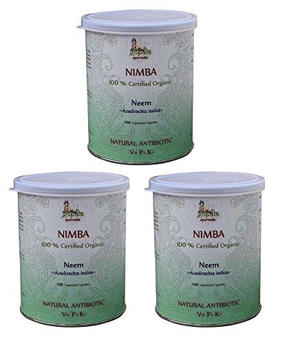 NEEM Bio (108 Veg Kapseln - 3er pack) - Nimba (Azadirachta indica) 500mg je Kapsel - 100% Bio-zertifiziertes pflanzliches Nahrungsergänzungsmittel der Lacon GmbH