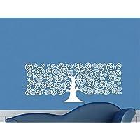 Pegatina pared vinilo arbol de la vida para cabecero de cama color blanco original, practico y decorativo 1.45 x 60 cm de CHIPYHOME