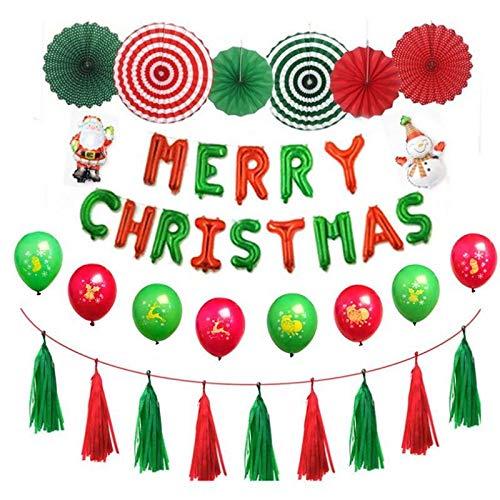 LIZHIOO Frohe Weihnachten Briefe Folienballons Weihnachtsballons Set Papier Fan Origami Weihnachtsmann Anzug for Weihnachten Wall Party Decor (Color : Rot) -