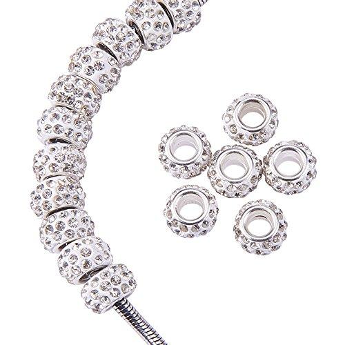 nbeads 100PCS 12x7mm klarem Kristall Polymer Clay Strass europäischen Perlen großes Loch Rondelle Spacer Perlen für europäische Schlangenkette Charm Armband